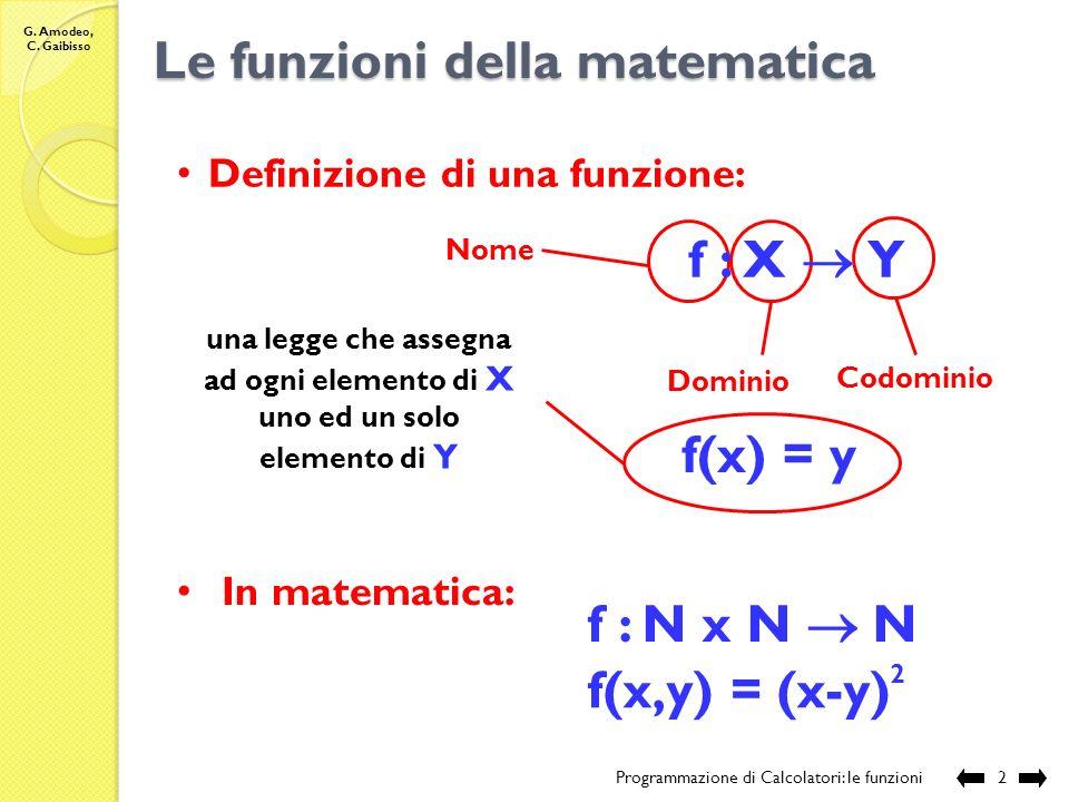 G. Amodeo, C. Gaibisso Programmazione di Calcolatori Lezione XII Le funzioni Programmazione di Calcolatori: le funzioni 1