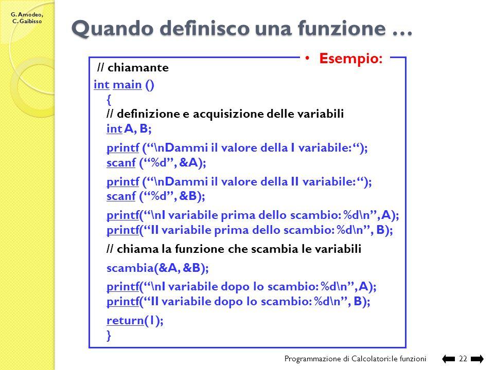 G. Amodeo, C. Gaibisso Quando definisco lintestazione di una funzione … Programmazione di Calcolatori: le funzioni21 Devo capire: 1.se restituisce un