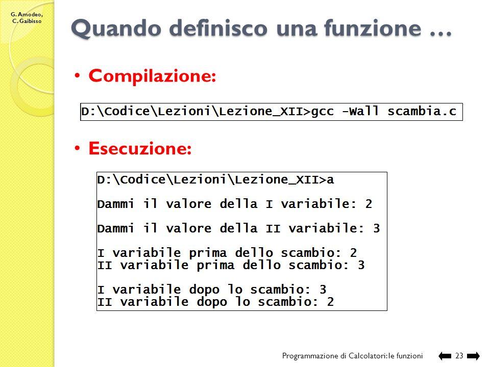 G. Amodeo, C. Gaibisso Quando definisco una funzione … Programmazione di Calcolatori: le funzioni22 // chiamante int main () { // definizione e acquis