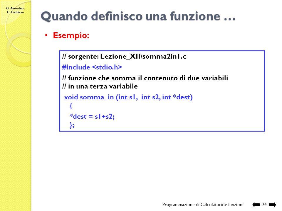 G. Amodeo, C. Gaibisso Quando definisco una funzione … Programmazione di Calcolatori: le funzioni23 Compilazione: Esecuzione: