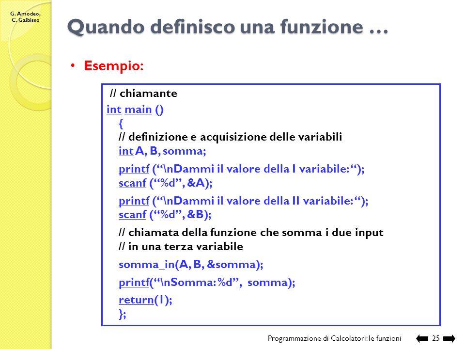 G. Amodeo, C. Gaibisso Quando definisco una funzione … Programmazione di Calcolatori: le funzioni24 // sorgente: Lezione_XII\somma2in1.c #include // f