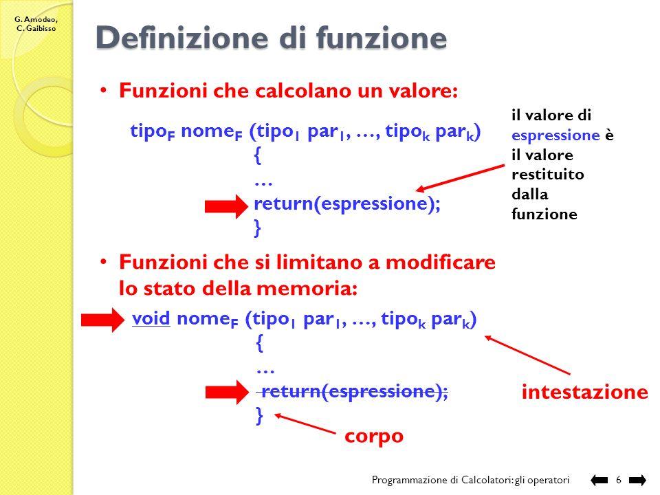 G. Amodeo, C. Gaibisso Definizione di una funzione Programmazione di Calcolatori: gli operatori5 E necessario assegnare alla funzione: a)un nome b)il