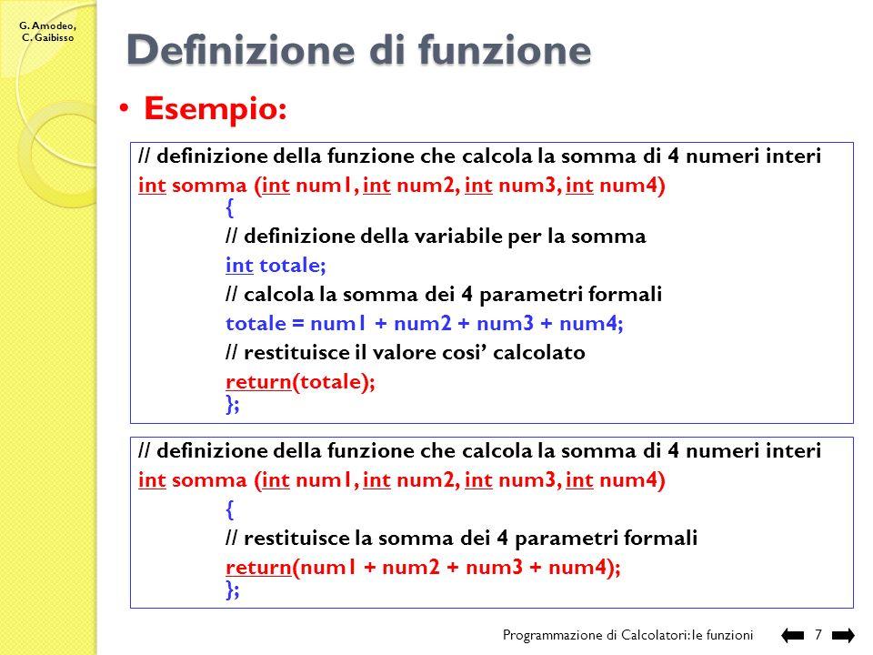 G. Amodeo, C. Gaibisso Definizione di funzione Programmazione di Calcolatori: gli operatori6 Funzioni che calcolano un valore: tipo F nome F (tipo 1 p