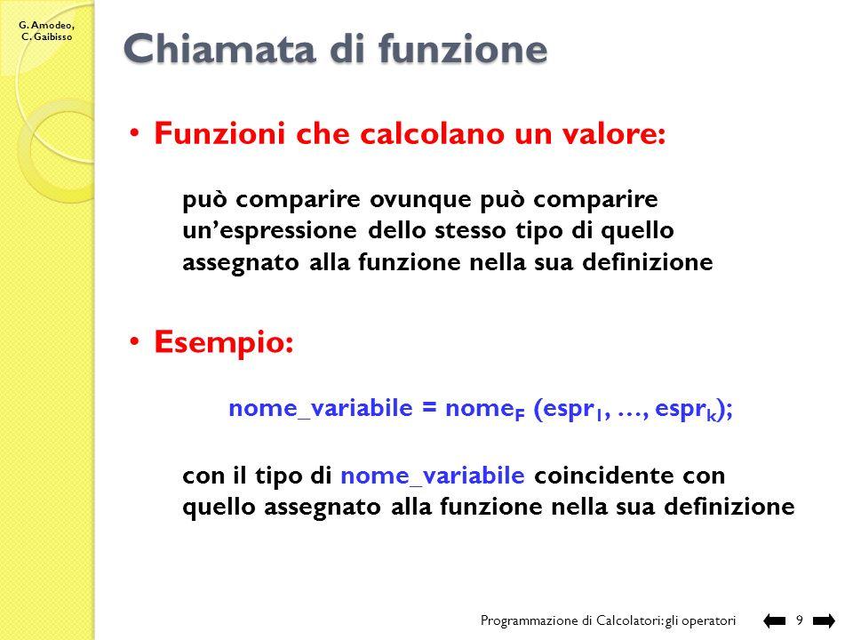 G. Amodeo, C. Gaibisso Chiamata di funzione Programmazione di Calcolatori: gli operatori8 E necessario specificare: a)il nome della funzione b)una lis
