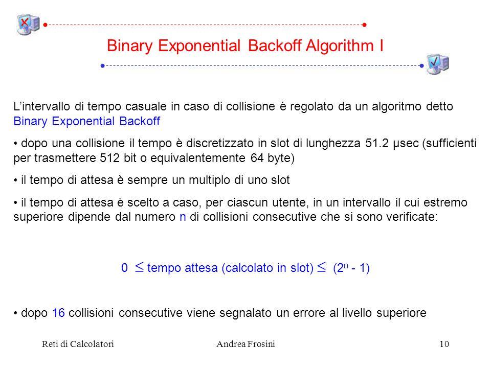 Reti di CalcolatoriAndrea Frosini10 Lintervallo di tempo casuale in caso di collisione è regolato da un algoritmo detto Binary Exponential Backoff dop