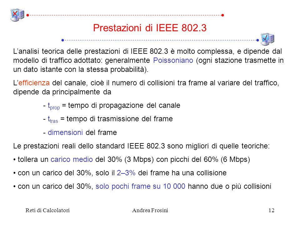 Reti di CalcolatoriAndrea Frosini12 Prestazioni di IEEE 802.3 Lanalisi teorica delle prestazioni di IEEE 802.3 è molto complessa, e dipende dal modell