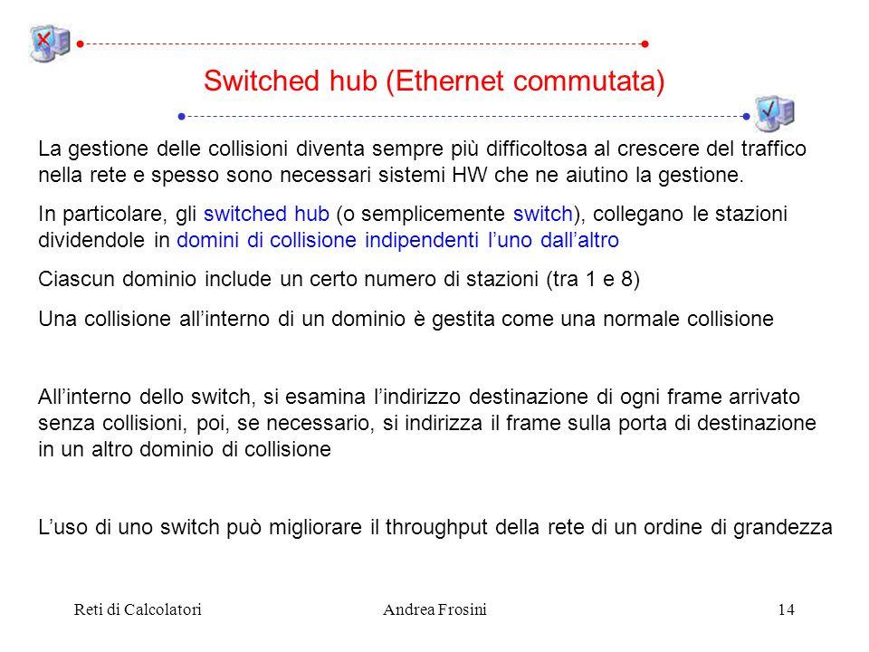 Reti di CalcolatoriAndrea Frosini14 Switched hub (Ethernet commutata) La gestione delle collisioni diventa sempre più difficoltosa al crescere del tra
