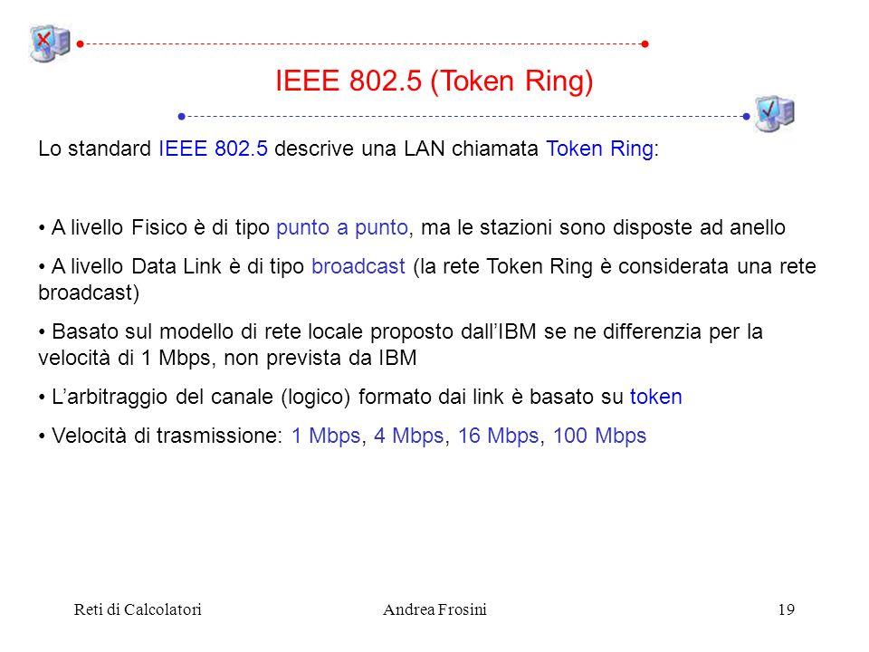 Reti di CalcolatoriAndrea Frosini19 IEEE 802.5 (Token Ring) Lo standard IEEE 802.5 descrive una LAN chiamata Token Ring: A livello Fisico è di tipo pu