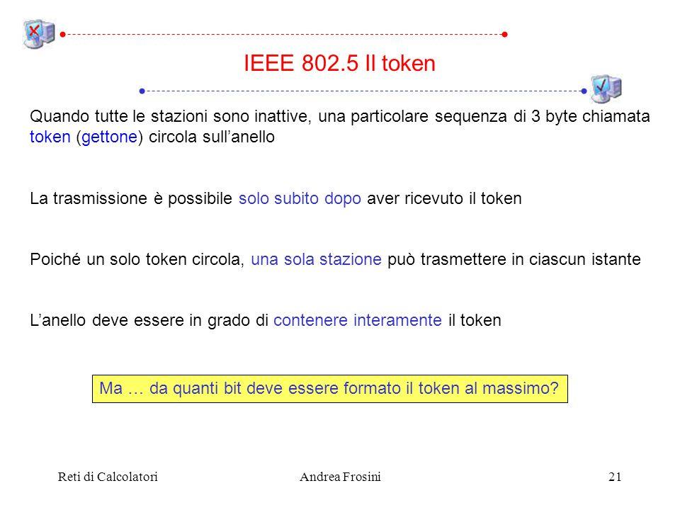 Reti di CalcolatoriAndrea Frosini21 IEEE 802.5 Il token Quando tutte le stazioni sono inattive, una particolare sequenza di 3 byte chiamata token (get