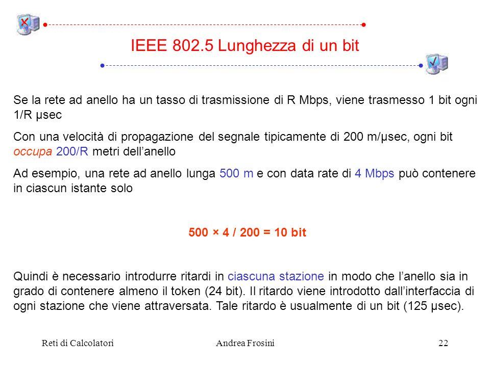 Reti di CalcolatoriAndrea Frosini22 IEEE 802.5 Lunghezza di un bit Se la rete ad anello ha un tasso di trasmissione di R Mbps, viene trasmesso 1 bit o
