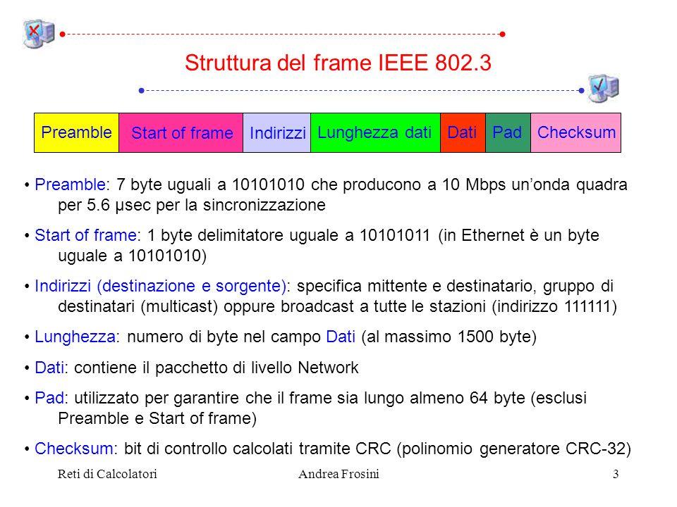 Reti di CalcolatoriAndrea Frosini3 Preamble: 7 byte uguali a 10101010 che producono a 10 Mbps unonda quadra per 5.6 µsec per la sincronizzazione Start