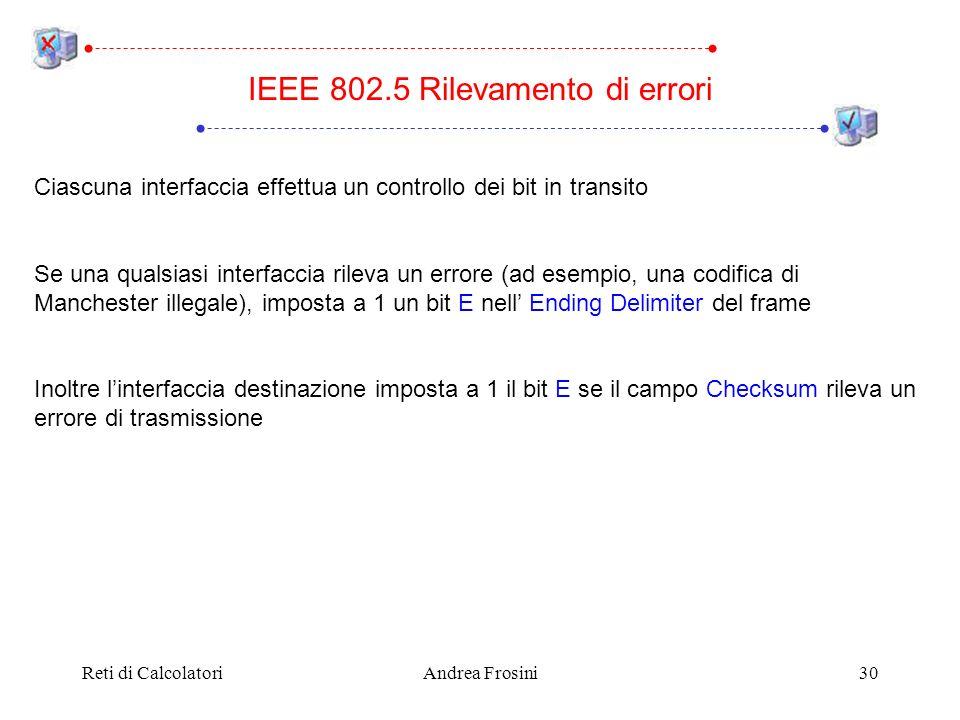 Reti di CalcolatoriAndrea Frosini30 IEEE 802.5 Rilevamento di errori Ciascuna interfaccia effettua un controllo dei bit in transito Se una qualsiasi i