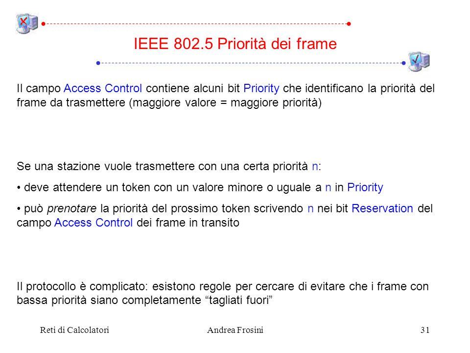 Reti di CalcolatoriAndrea Frosini31 IEEE 802.5 Priorità dei frame Il campo Access Control contiene alcuni bit Priority che identificano la priorità de