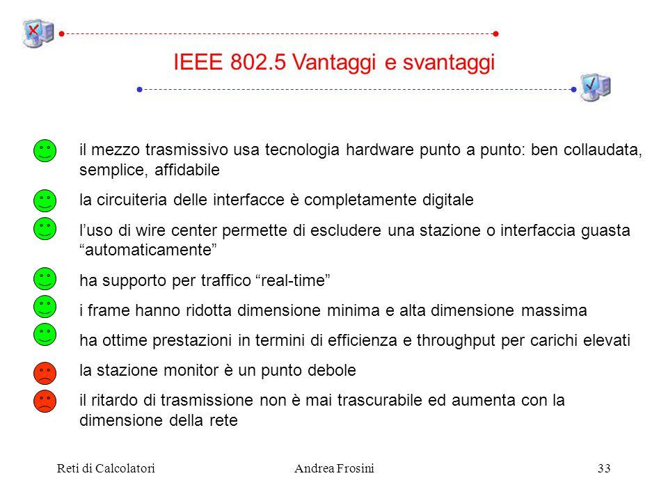Reti di CalcolatoriAndrea Frosini33 IEEE 802.5 Vantaggi e svantaggi il mezzo trasmissivo usa tecnologia hardware punto a punto: ben collaudata, sempli
