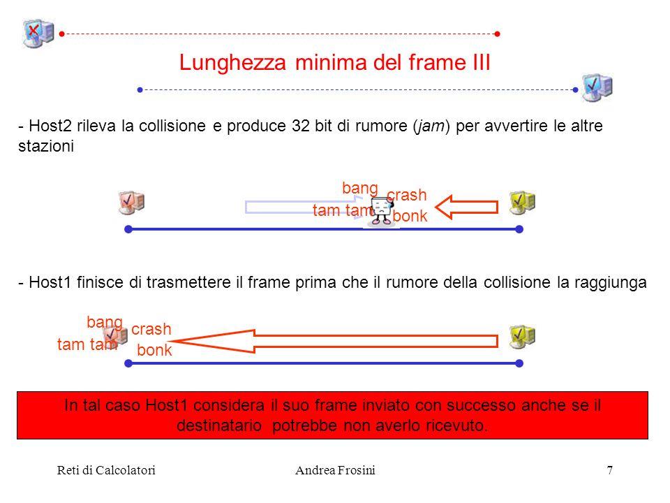 Reti di CalcolatoriAndrea Frosini7 Lunghezza minima del frame III - Host2 rileva la collisione e produce 32 bit di rumore (jam) per avvertire le altre