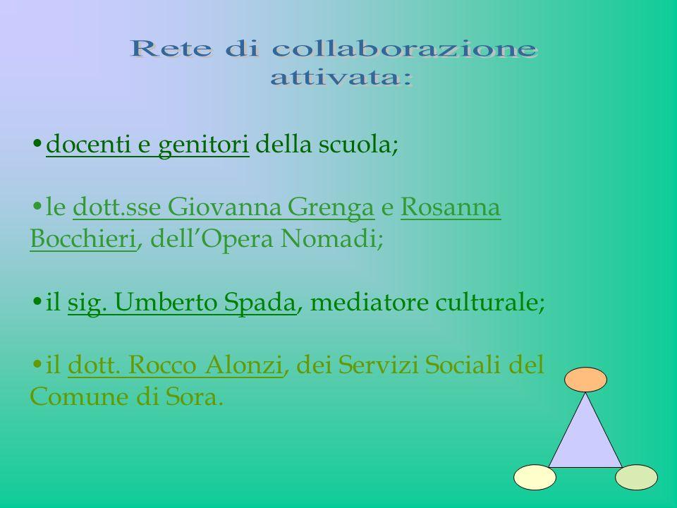 docenti e genitori della scuola; le dott.sse Giovanna Grenga e Rosanna Bocchieri, dellOpera Nomadi; il sig. Umberto Spada, mediatore culturale; il dot