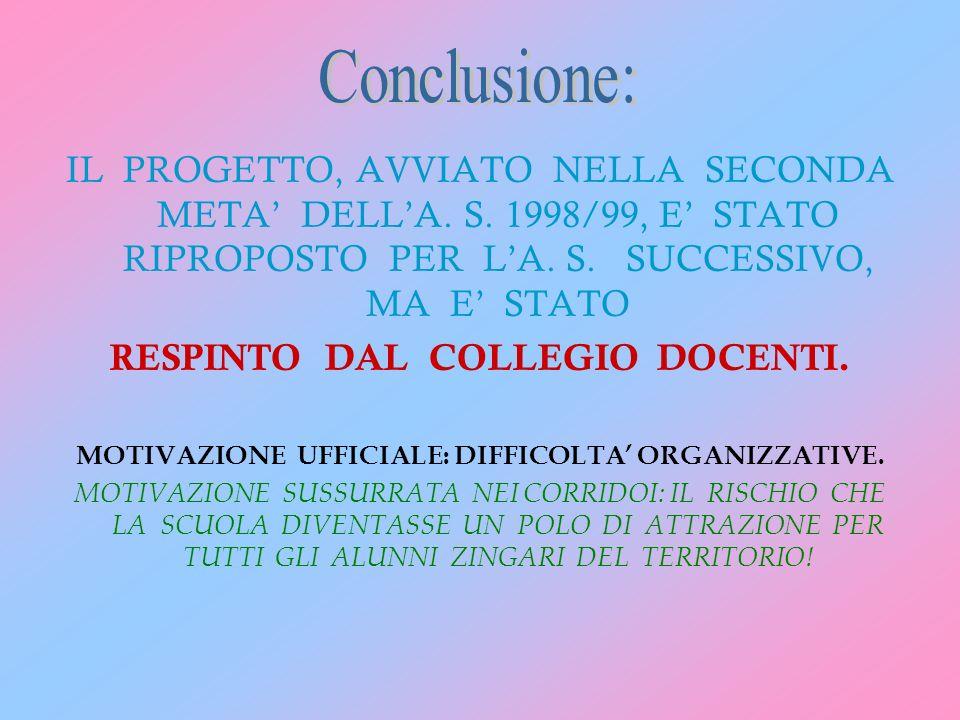 IL PROGETTO, AVVIATO NELLA SECONDA META DELLA. S. 1998/99, E STATO RIPROPOSTO PER LA. S. SUCCESSIVO, MA E STATO RESPINTO DAL COLLEGIO DOCENTI. MOTIVAZ