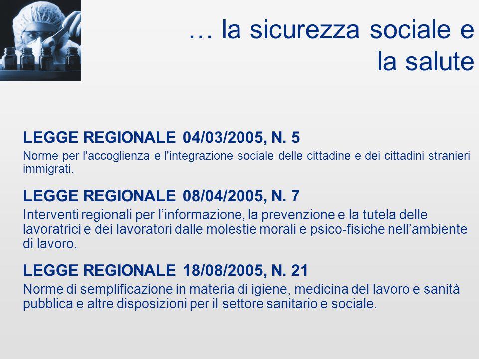 … il lavoro e linnovazione LEGGE REGIONALE 04/03/2005, N. 4 Interventi per il sostegno e lo sviluppo competitivo delle piccole e medie imprese del Fri
