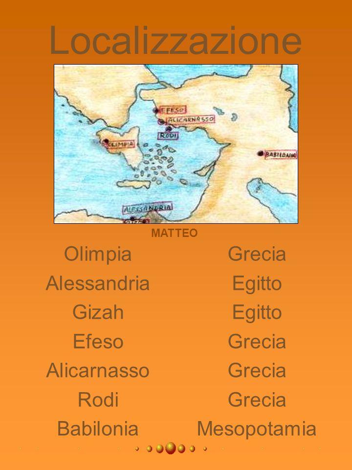 Localizzazione Olimpia Alessandria Gizah Efeso Alicarnasso Rodi Babilonia Grecia Egitto Egitto Grecia Grecia Grecia Mesopotamia MATTEO