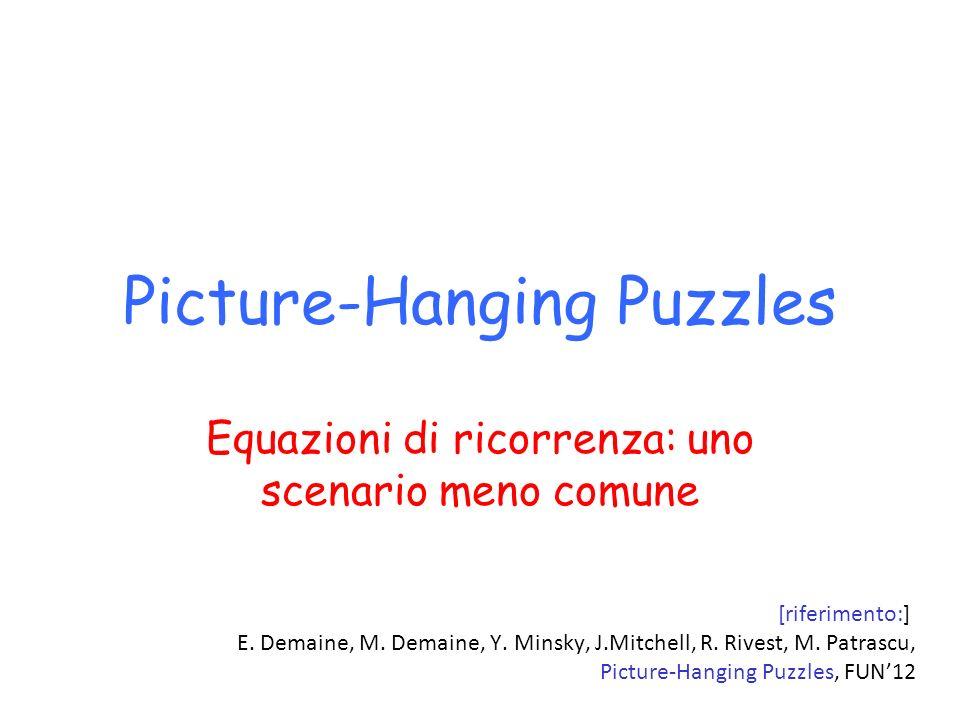 Picture-Hanging Puzzles Equazioni di ricorrenza: uno scenario meno comune [riferimento:] E. Demaine, M. Demaine, Y. Minsky, J.Mitchell, R. Rivest, M.