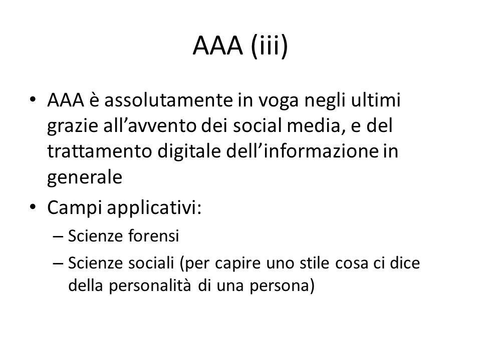 AAA (iii) AAA è assolutamente in voga negli ultimi grazie allavvento dei social media, e del trattamento digitale dellinformazione in generale Campi a