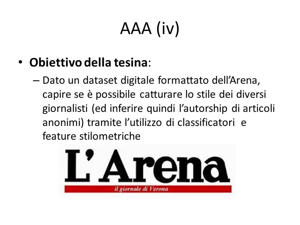 AAA (iv) Obiettivo della tesina: – Dato un dataset digitale formattato dellArena, capire se è possibile catturare lo stile dei diversi giornalisti (ed