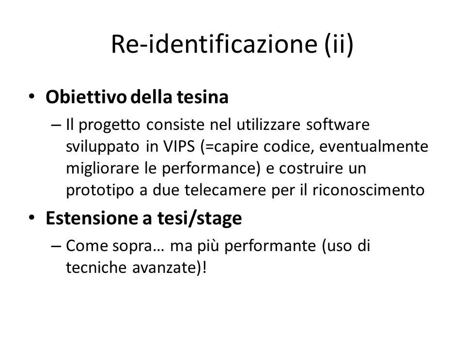 Re-identificazione (ii) Obiettivo della tesina – Il progetto consiste nel utilizzare software sviluppato in VIPS (=capire codice, eventualmente miglio