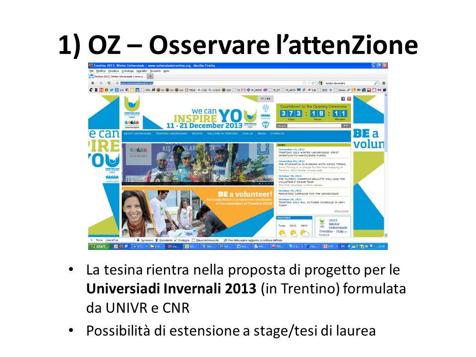 1) OZ – Osservare lattenZione La tesina rientra nella proposta di progetto per le Universiadi Invernali 2013 (in Trentino) formulata da UNIVR e CNR Po