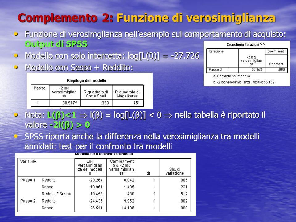 Complemento 2: Funzione di verosimiglianza Funzione di verosimglianza nellesempio sul comportamento di acquisto: Output di SPSS Funzione di verosimglianza nellesempio sul comportamento di acquisto: Output di SPSS Modello con solo intercetta: log[L(0)] = -27.726 Modello con solo intercetta: log[L(0)] = -27.726 Modello con Sesso + Reddito: Modello con Sesso + Reddito: Nota: L(β) 0 Nota: L(β) 0 SPSS riporta anche la differenza nella verosimiglianza tra modelli annidati: test per il confronto tra modelli