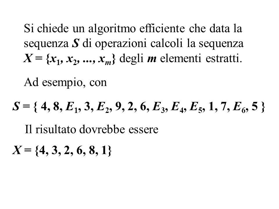 Si chiede un algoritmo efficiente che data la sequenza S di operazioni calcoli la sequenza X = {x 1, x 2,..., x m } degli m elementi estratti.