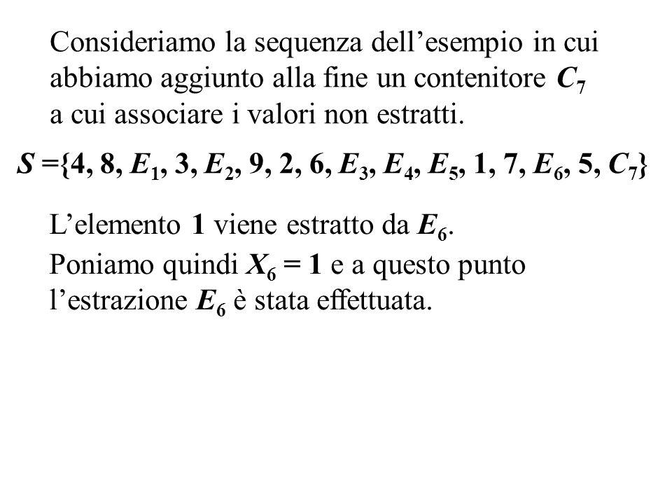 S ={4, 8, E 1, 3, E 2, 9, 2, 6, E 3, E 4, E 5, 1, 7, E 6, 5, C 7 } Consideriamo la sequenza dellesempio in cui abbiamo aggiunto alla fine un contenitore C 7 a cui associare i valori non estratti.