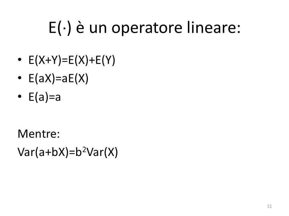 E( ) è un operatore lineare: E(X+Y)=E(X)+E(Y) E(aX)=aE(X) E(a)=a Mentre: Var(a+bX)=b 2 Var(X) 11