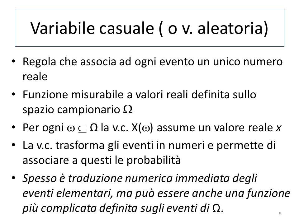Variabile casuale ( o v. aleatoria) Regola che associa ad ogni evento un unico numero reale Funzione misurabile a valori reali definita sullo spazio c