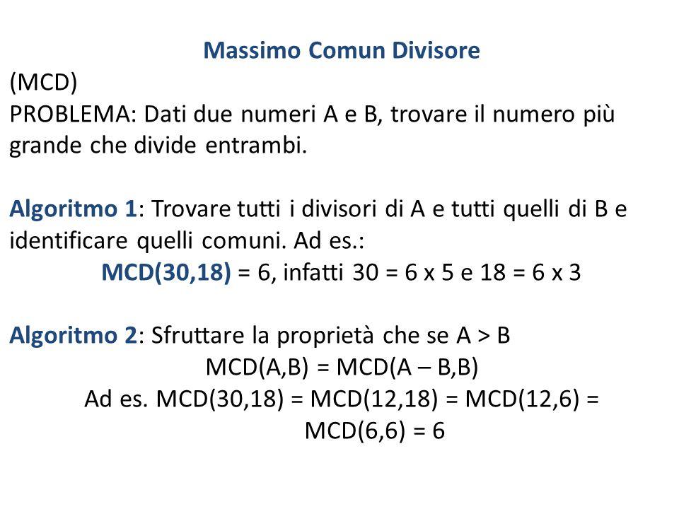 Massimo Comun Divisore (MCD) PROBLEMA: Dati due numeri A e B, trovare il numero più grande che divide entrambi. Algoritmo 1: Trovare tutti i divisori