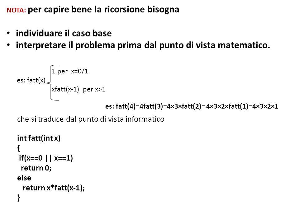 NOTA: per capire bene la ricorsione bisogna individuare il caso base interpretare il problema prima dal punto di vista matematico. 1 per x=0/1 es: fat