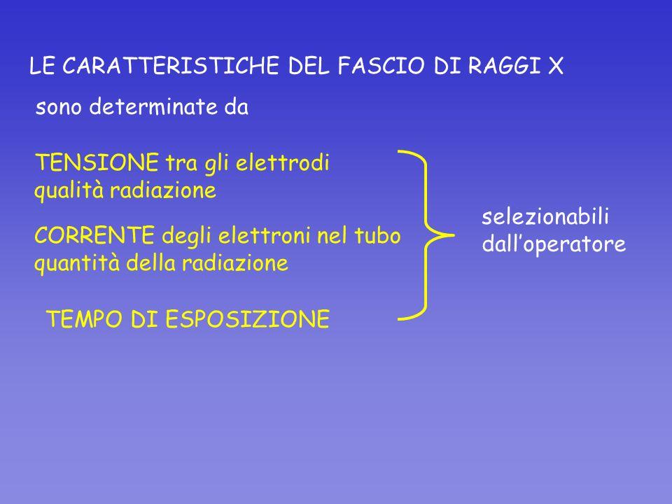 LE CARATTERISTICHE DEL FASCIO DI RAGGI X sono determinate da TENSIONE tra gli elettrodi qualità radiazione CORRENTE degli elettroni nel tubo quantità