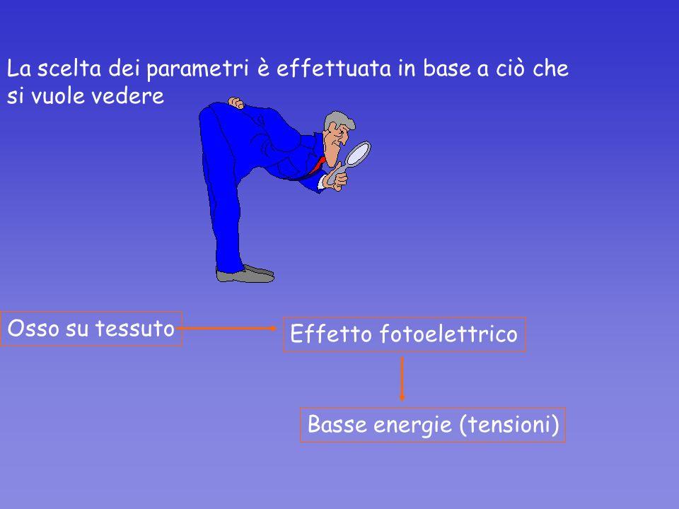 La scelta dei parametri è effettuata in base a ciò che si vuole vedere Osso su tessuto Effetto fotoelettrico Basse energie (tensioni)