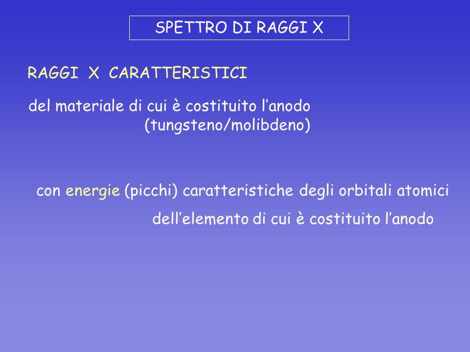 SPETTRO DI RAGGI X RAGGI X CARATTERISTICI del materiale di cui è costituito lanodo (tungsteno/molibdeno) con energie (picchi) caratteristiche degli or
