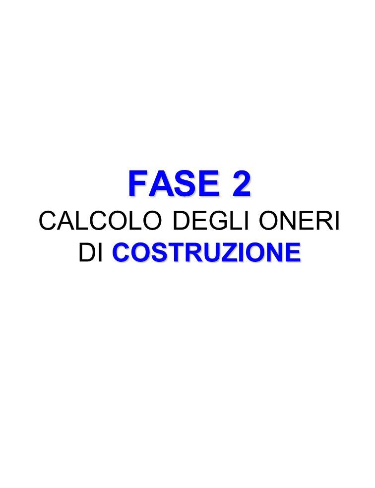 FASE 2 COSTRUZIONE FASE 2 CALCOLO DEGLI ONERI DI COSTRUZIONE