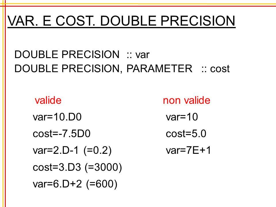 Operazioni miste INTEGER :: var var = 1.5 + 9 / 4 = 1.5 + 2 = 3.5 poichè var può contenere solamente numeri interi il valore risultante viene automaticamente trasformato nel numero intero 3 in pratica si ha: var=3