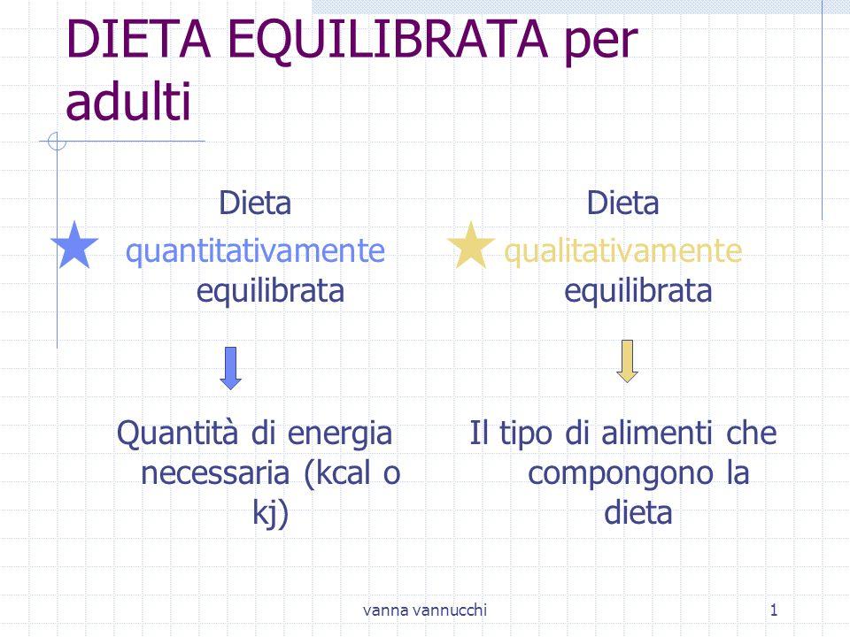 vanna vannucchi1 DIETA EQUILIBRATA per adulti Dieta quantitativamente equilibrata Quantità di energia necessaria (kcal o kj) Dieta qualitativamente eq