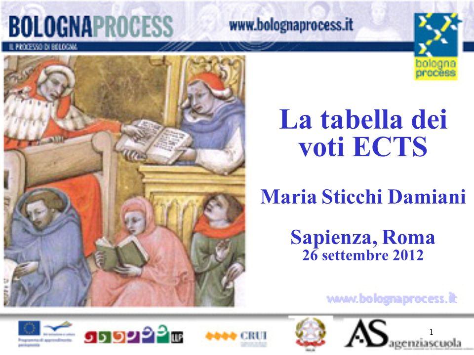 1 www.bolognaprocess.i t La tabella dei voti ECTS Maria Sticchi Damiani Sapienza, Roma 26 settembre 2012