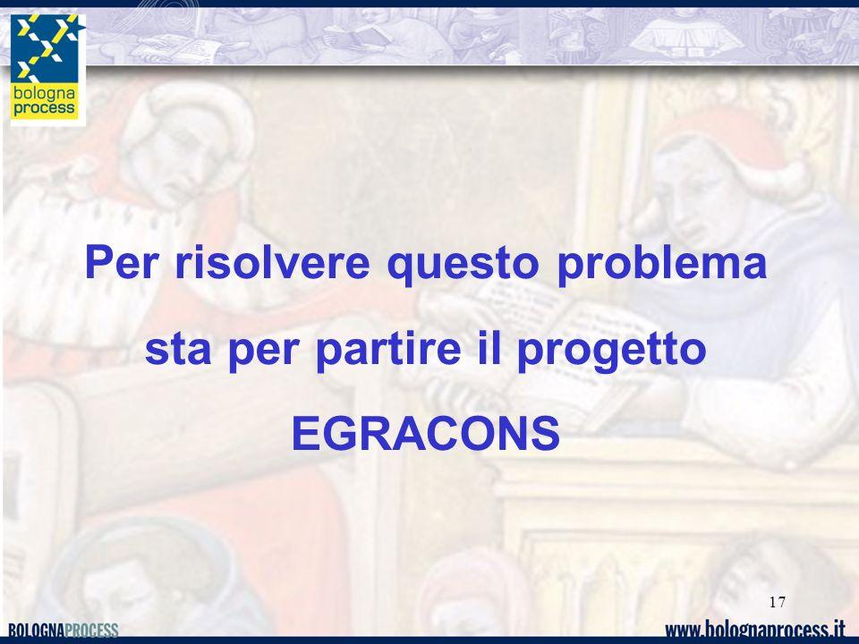 17 Per risolvere questo problema sta per partire il progetto EGRACONS