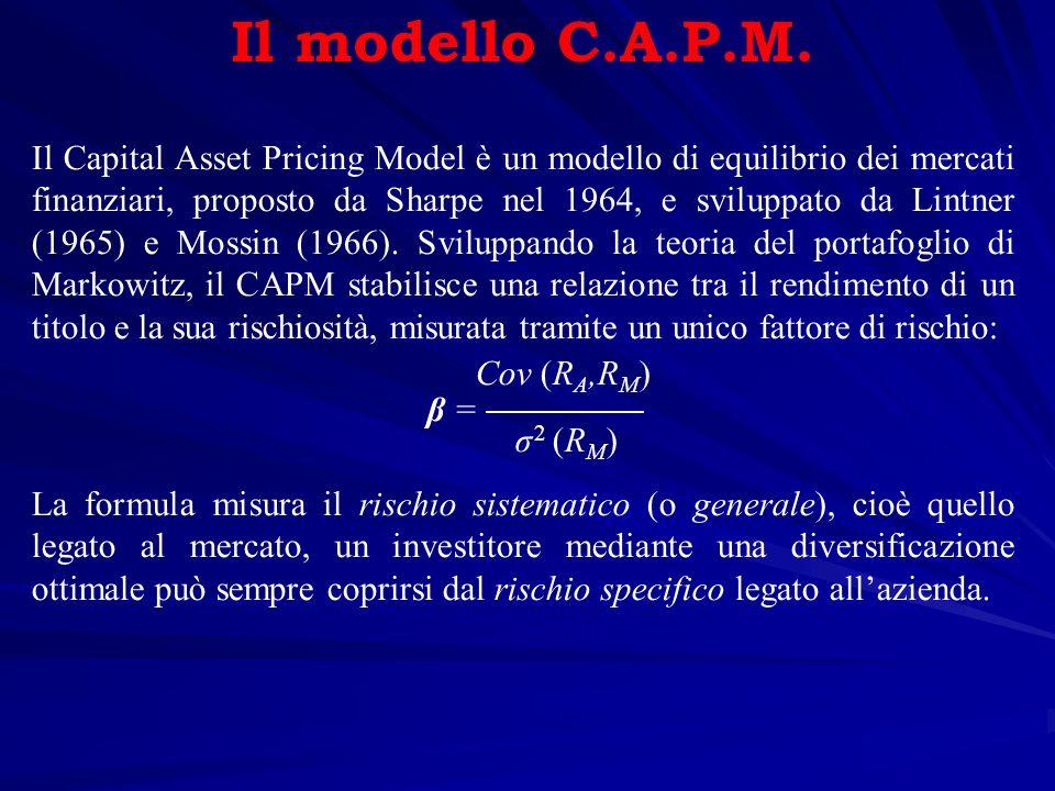 Il modello C.A.P.M. Il Capital Asset Pricing Model è un modello di equilibrio dei mercati finanziari, proposto da Sharpe nel 1964, e sviluppato da Lin