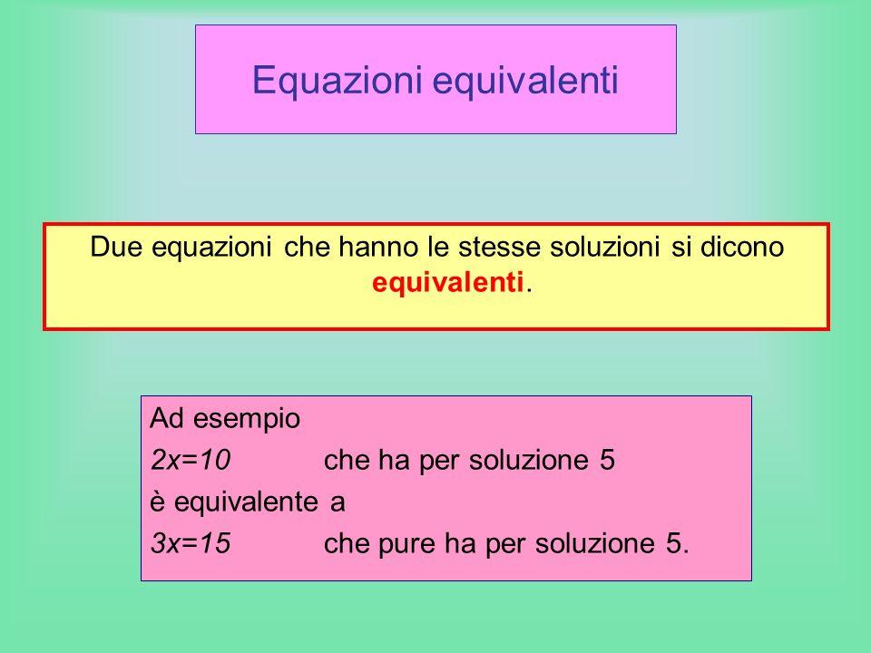 Equazioni equivalenti Due equazioni che hanno le stesse soluzioni si dicono equivalenti. Ad esempio 2x=10che ha per soluzione 5 è equivalente a 3x=15c
