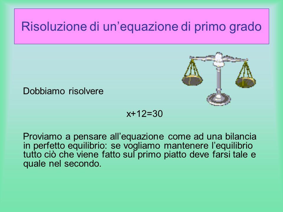 Risoluzione di unequazione di primo grado Dobbiamo risolvere x+12=30 Proviamo a pensare allequazione come ad una bilancia in perfetto equilibrio: se v