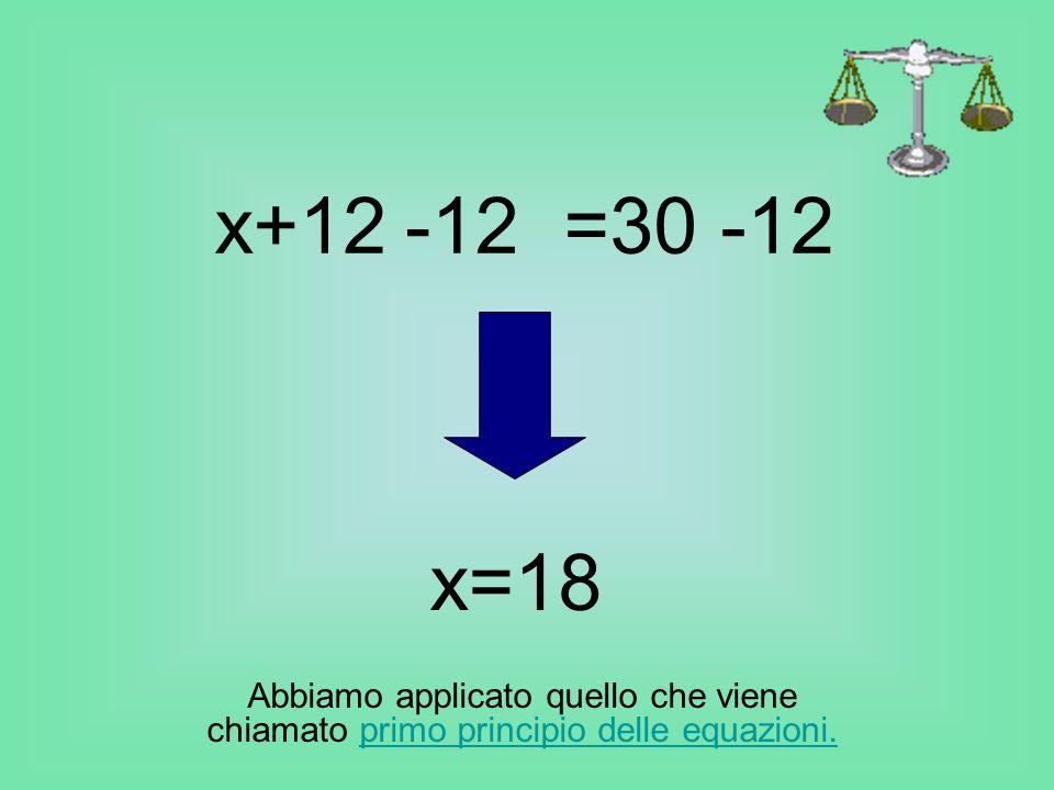 x+12 =30-12 x=18 Abbiamo applicato quello che viene chiamato primo principio delle equazioni.primo principio delle equazioni.