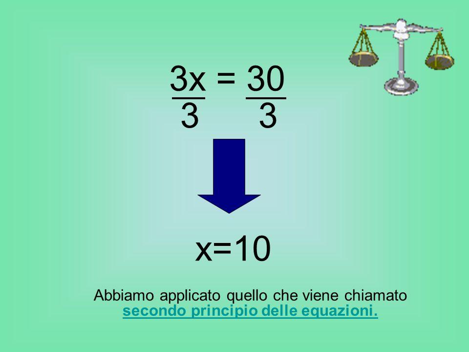 Abbiamo applicato quello che viene chiamato secondo principio delle equazioni. secondo principio delle equazioni. 3x = 30 3 x=10