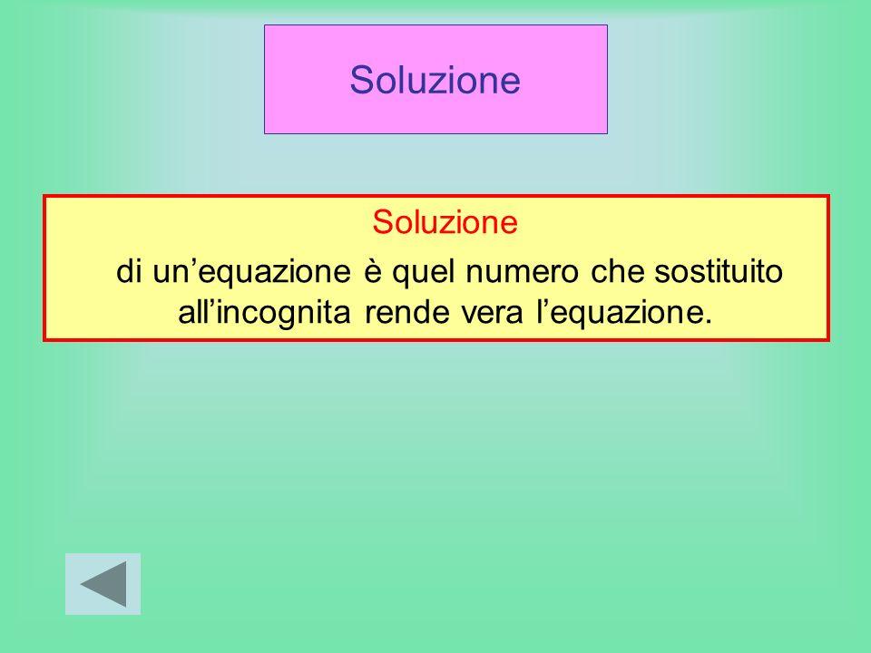 Soluzione di unequazione è quel numero che sostituito allincognita rende vera lequazione.