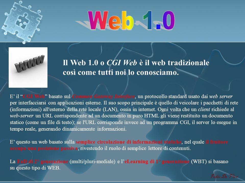 WEB 1.0 WEB 2.0 WEB 3.0 WEB 4.0 WEB X.0 Fabio De Vivo Levoluzione del WEB segue un andamento piramidale rovesciato, convergente verso il basso. CGI We